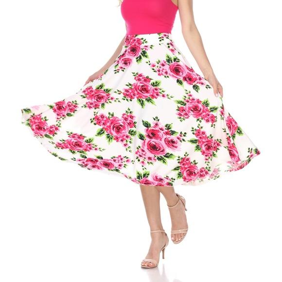 81909a34054bd PLUS SIZE Floral Print A-line Midi Skirt  PS709-96